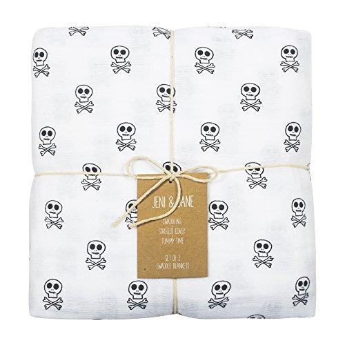 Jeni and Jane Skull Crossbones Baby Swaddle Blankets Pack Of 2,Skull Crossbones,One (Skull Burp Cloth)
