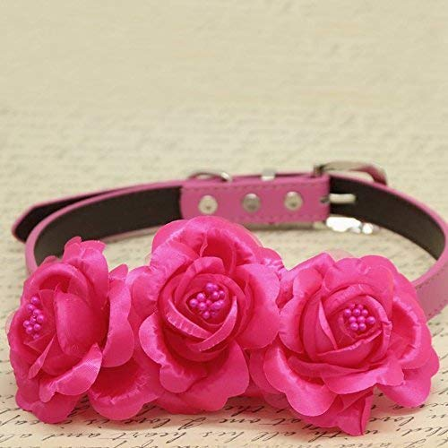 Amazon Hot Pink Flower Dog Collar Rose Flower Pink Dog Collar