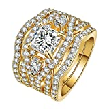 Purmy Women Ring Gold Plated White Cubic Zirconia Three Layer Ring Princess Cut Fashion Style Size L 1/2