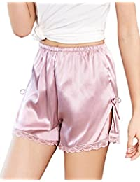 Women's Satin Lace Shorts,Pettipants Lingerie Culotte Sleep Lounge Slip Bloomers Split Skirt