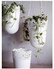 وعاء نباتات قابل للتعليق من المعدن المغلفن مطلي بطبقة مسحوق لون ابيض 12 سم - I86094k