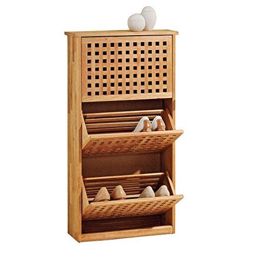 ZEARO Schuhschrankaus Gitterdesign Schuhregal Walnuss Holz 3 Türen