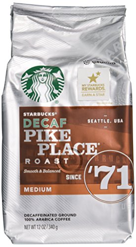 Starbucks Decaf Pike Place Roast, Ground, 12 oz. Bag (Pack of 3) (Pack of 3)
