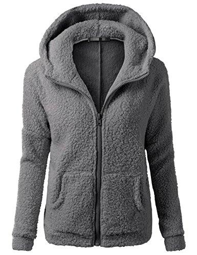 Sueetyus Womens Full Zip Up Sherpa Fleece Hoodie Jacket Coat Winter Warm Outwear Gray (Birthday Warm Jacket)