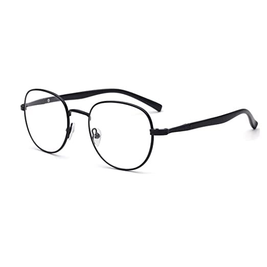 55d9828e7a3 D.King Circle Oversized Metal Eyeglasses Frame Inspired Horned Rim Clear  Lens Glasses Black