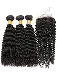 ALIPOP 10A Brazilian Kinky Curly Virgin Hair 3 Bundles with Lace Closure Free Part Unprocessed Human Hair Extensions Remy Hair Bundles Natural Black Color (12 14 16+10, Natural Color)