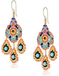 Gold-Tone and Turquoise Bead Drop Earrings