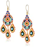 Miguel Ases Gold-Tone and Turquoise Bead Drop Earrings