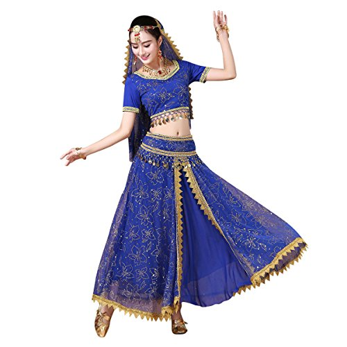 Women's Belly Dance Chiffon Bollywood Costume Indian Dance Outfit Halloween Costumes with Coins 5 Pieces Sets(Blue, Medium) for $<!--$43.82-->