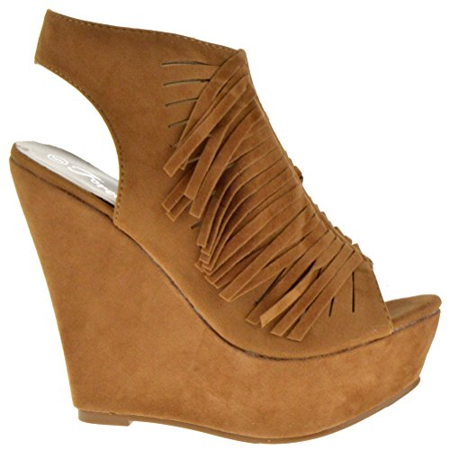 Forever Allen 87 Flecha Abierta Para Mujer Peep Toe Strappy Wedges Tan