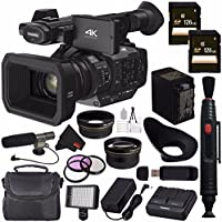 Panasonic HC-X1 4K Ultra HD Professional Camcorder + 128GB SDXC Card + 67mm 3 Piece Filter Kit + 67mm Wide Angle Lens + Professional 160 LED Video Light Studio Series Bundle