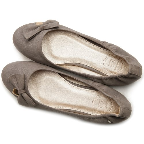 Ollio Ballet Accent Grey Ribbon Comfort Women's Flat Shoe g8qwrPg
