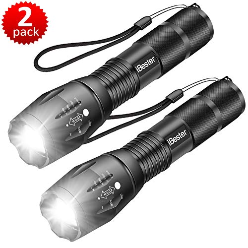 Tactical Flashlight, iBester XML-T6 LED Flashlight, High Lumen, Portable, Zoomable, 5 Modes, Water Resistant, Perfect for Camping, Outdoor, Emergency (2 Pack)