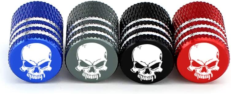 Black WUHUSHID 4Pcs//Set Universal Skull Alu-alloy Tire Valve Caps for Car Truck Motorcycle Bicycle Valve Stem Cover Tire Accessories