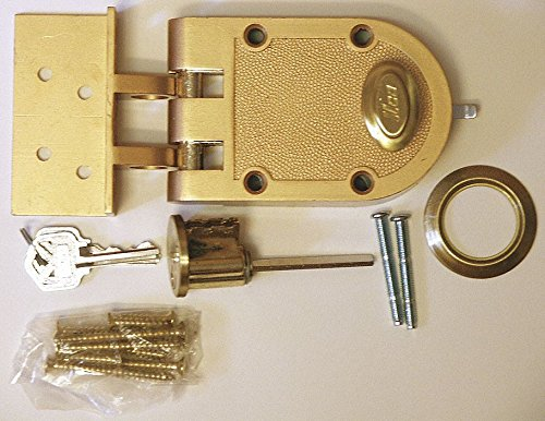Bronze Auxiliary Lock, Jimmyproof Deadlock, For Door Thickness 1-3/8'' to 2-1/4''