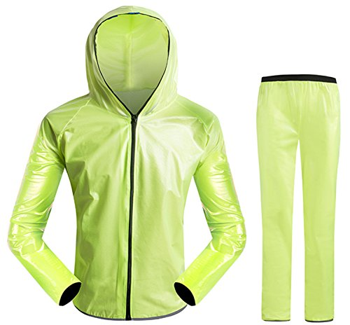 INBIKE Men and Women's Super Light Outdoor Waterproof Cycling Raincoat With Hoods,Neon Green, (US) L-(CN) XXL