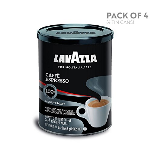 (Lavazza Caffe Espresso Ground Coffee Blend, Medium Roast, 8-Ounce Cans,Pack of 4)