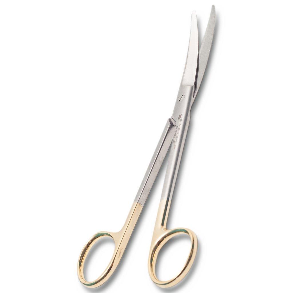 Präparierschere nach Mayo, gebogen, 14,5 cm, mit Hartmetalleinlage (TC) Shark Instruments