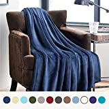 #1: Flannel Fleece Luxury Blanket Blue Navy Throw Lightweight Cozy Plush Microfiber Solid Blanket by Bedsure