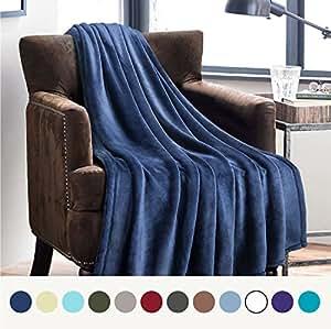Amazon Com Flannel Fleece Luxury Blanket Blue Navy Throw