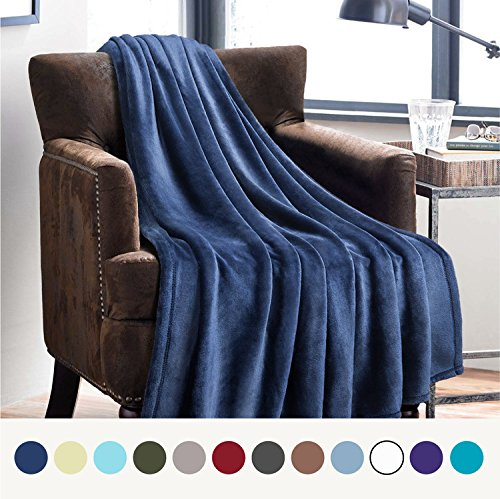 Flannel Fleece Luxury Blanket Blue Navy Throw Lightweight Cozy Plush Microfiber