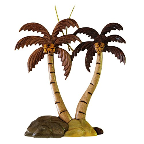 Tree Palm Christmas Ornament (Hawaiian Style Handmade Wood Christmas Ornament Two Palm Trees)