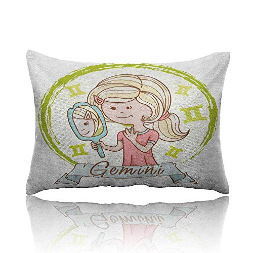 homehot Zodiac Gemini Mini Pillowcase Cartoon Style Little Girl with a Mirror and Reflection Twins Concept for Kids Fun Pillowcase 20