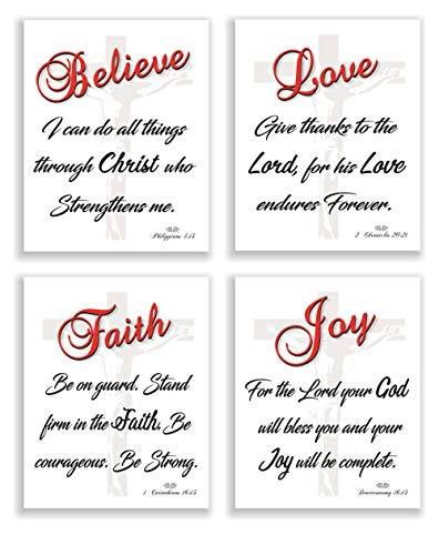 PARTH IMPEX Bible Quotes Verse Wall Decor Saying Art Prints (Set of 4) Unframed 8 x 10 Photos Love Faith Joy Believe Great Gift Home Office Christian Religious Inspirational Motivational Decoration
