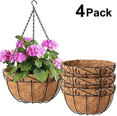 Rattan Wall Planter Hanging Plant Pot Basket Flowers Mounted Holder Garden Decor