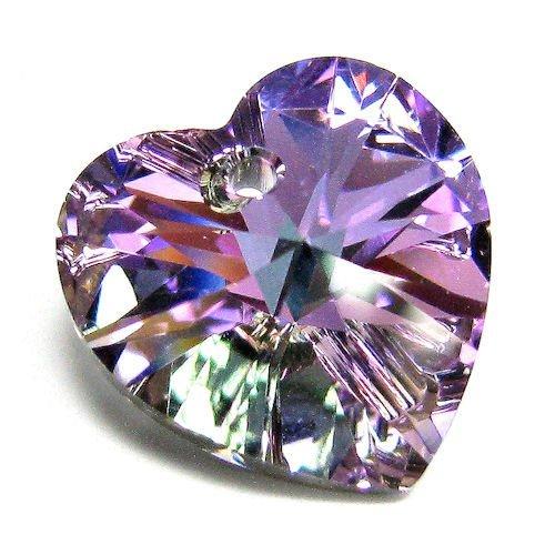 2 pcs 6228 Swarovski Xilion Crystal Heart Charm Pendant Vitrail Light 14mm / Findings / Crystallized Element ()