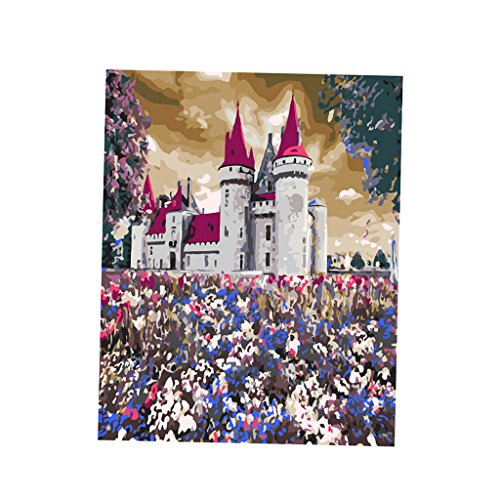 MagiDeal DIY Digital Oil Painting Kit Paint by Numbers on Canvas Artwork - Old Castle