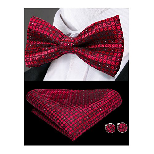 (Hi-Tie Men Classic Red Bow Tie Necktie with Cufflinks and Pocket Square Bow Tie Set)