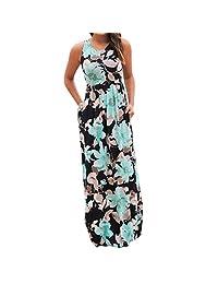 HGWXX7 Women Summer Floral Print Sleeveless with Pockets Maxi Beach Long Dress