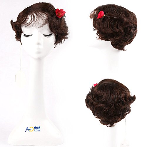 Brown Mommy Wig Human Hair Short Finger Wave Wig with Brazilian Hair (#2)