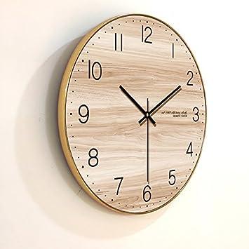 Y Hui Das Wohnzimmer Wanduhr Holz Textur Mute Wecker Tischuhr Quarz