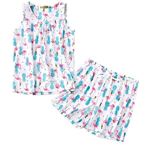 (ENJOYNIGHT Women's Cute Sleeveless Print Tee and Shorts Sleepwear Tank Top Pajama Set (X-Large, Flamingo))