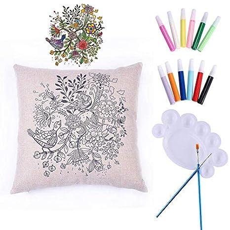 1pc Aves Flores DIY Arte de Tela para Colorear Pintar ...