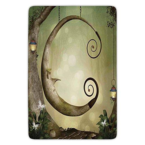 Bathroom Bath Rug Kitchen Floor Mat Carpet,Cartoon,Forest Secret Swing Old Tree Curly Half Moon Shaped Lamps Butterflies Lights,Khaki Light Brown,Flannel Microfiber Non-slip Soft Absorbent