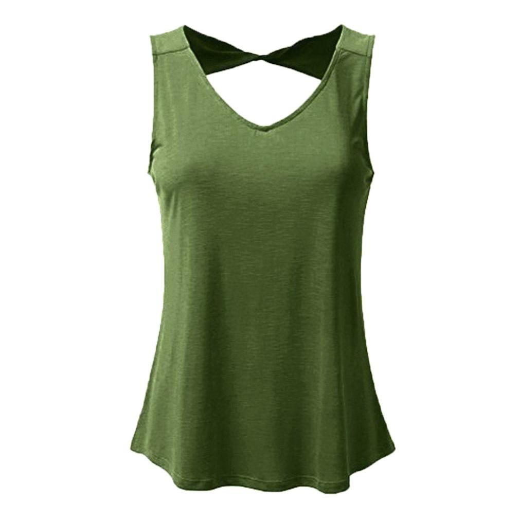 Gocheaper Women Plus Size Vest Hollow Out Casual Solid V Neck Sleeveless Tank Tops Fashion Shirt (S, Army Green)