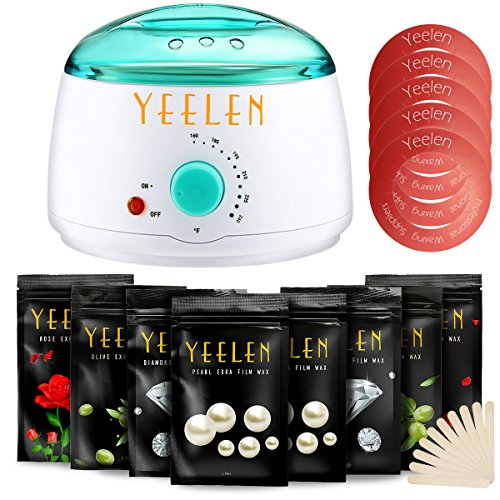 [Salon Choice] Yeelen Wax Warmer Hair Removal Waxing Kit Wax Melts + 8 Hard Wax Beans (1.76oz/pack)+ 10 Wax Applicator Sticks For Sale