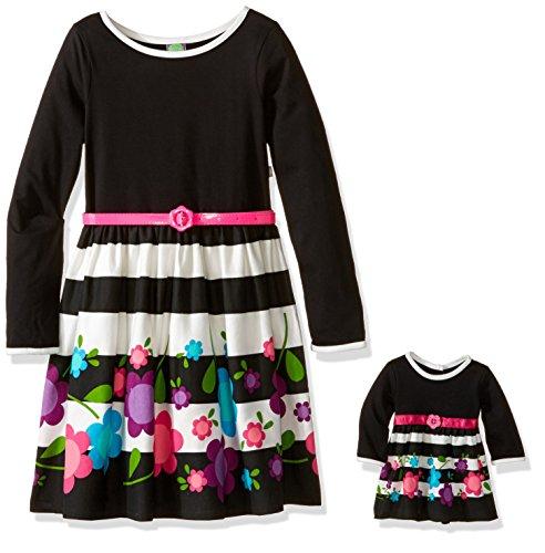 Dollie & Me Big Girls' Flower Pop - Long Sleeve Dress With Pink Belt, Black/Multi, 8