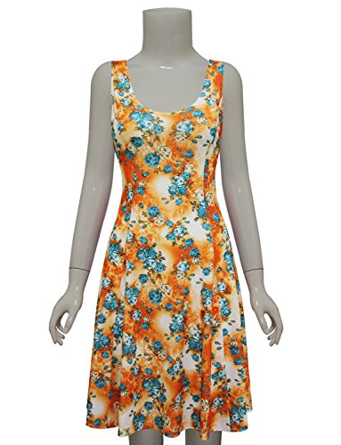 GreenOrange Dress TAM Womens Floral Sleeveless L Skater WARE nHP0q8HS