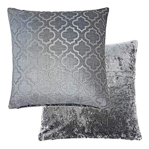 Crushed Chenille - 4 X REVERSIBLE CRUSHED VELVET CHENILLE SILVER GREY HONEYCOMBE THROW CUSHION COVER PILLOW CASE SHAM 17