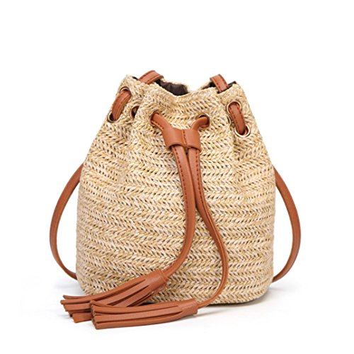 Women bags ❤️ Coppen Hot Sale Women Fashion Cute Solid Color fresh High Capacity Weave Tassels Shoulder Bucket Bag (Brown)
