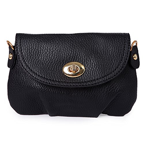 HDE Pleated Faux Leather Convertible Handbag Mini Crossbody Pouch Clutch Purse (Black)