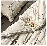 Eikei Modern Vintage Retro Mod Print Bedding Egyptian Cotton Duvet Cover Set Minimalist Chic Botanical Design Asian Zen Style Reversible Pattern in Full Queen or King Size (King, Neutral Tan)