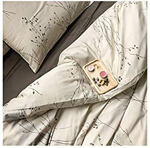 Eikei Modern Vintage Retro Mod Print Bedding Egyptian Cotton Duvet Cover Set Minimalist Chic Botanical Design Asian Zen Style Reversible Pattern in Full Queen or King Size (King, Neutral Tan)
