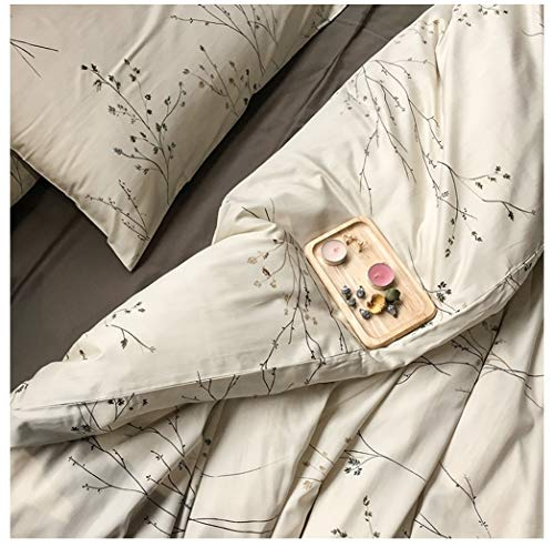 Eikei Modern Vintage Retro Mod Print Bedding Egyptian Cotton Duvet Cover Set Minimalist Chic Botanical Design Asian Zen Style Reversible Pattern in Full Queen or King Size (Queen, Neutral Tan)