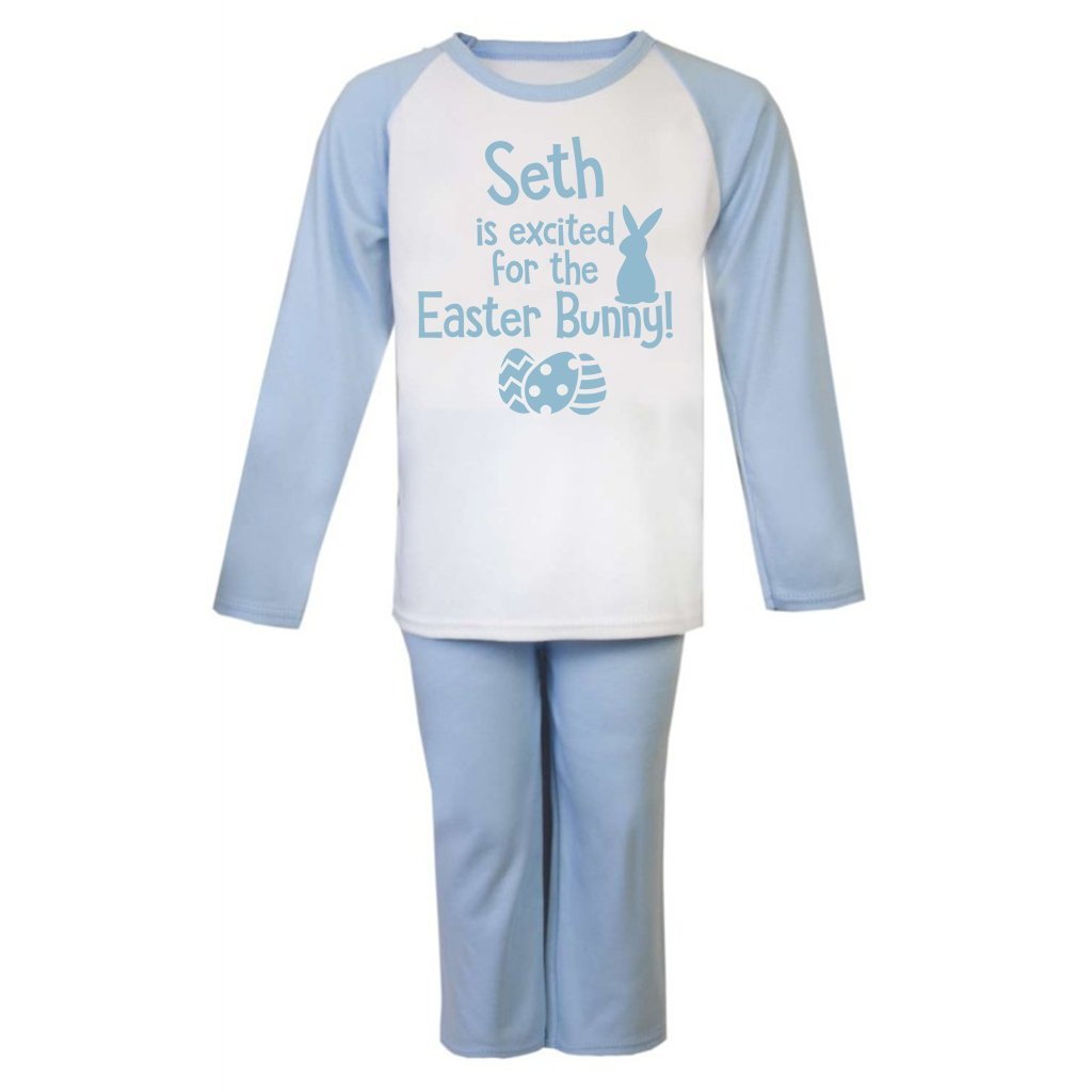 Personalised Name is Excited for the Easter Bunny Pyjamas Toddler Pyjamas Childs Personalised Pjs Easter Gifts