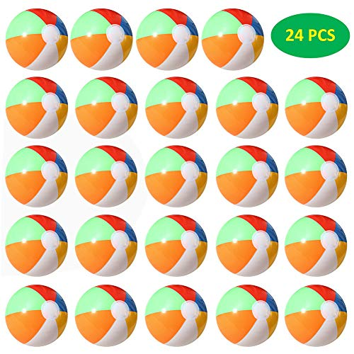 FairyStar None 24Pcs Children Rainbow Colors Inflatable Beach Balls (20CM in Diameter) Toy Gift for Pool Play 24 PCS]()